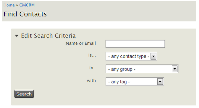CiviCRM Find Contacts