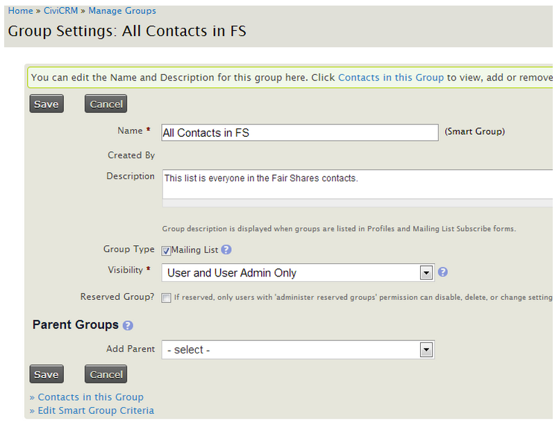 CiviCRM→ Contacts→ Manage Groups