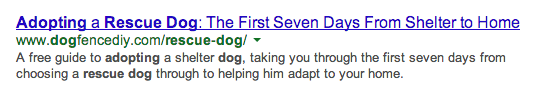 Example of a Good Page Title and Meta Description