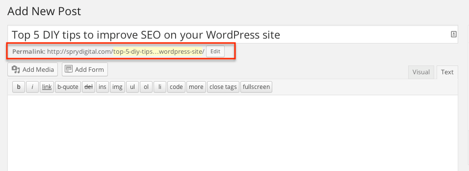 Example of How to Edit the Permalink in WordPress
