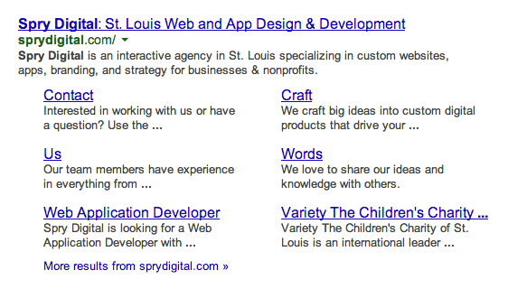 A Great Looking Sitemap Search Result