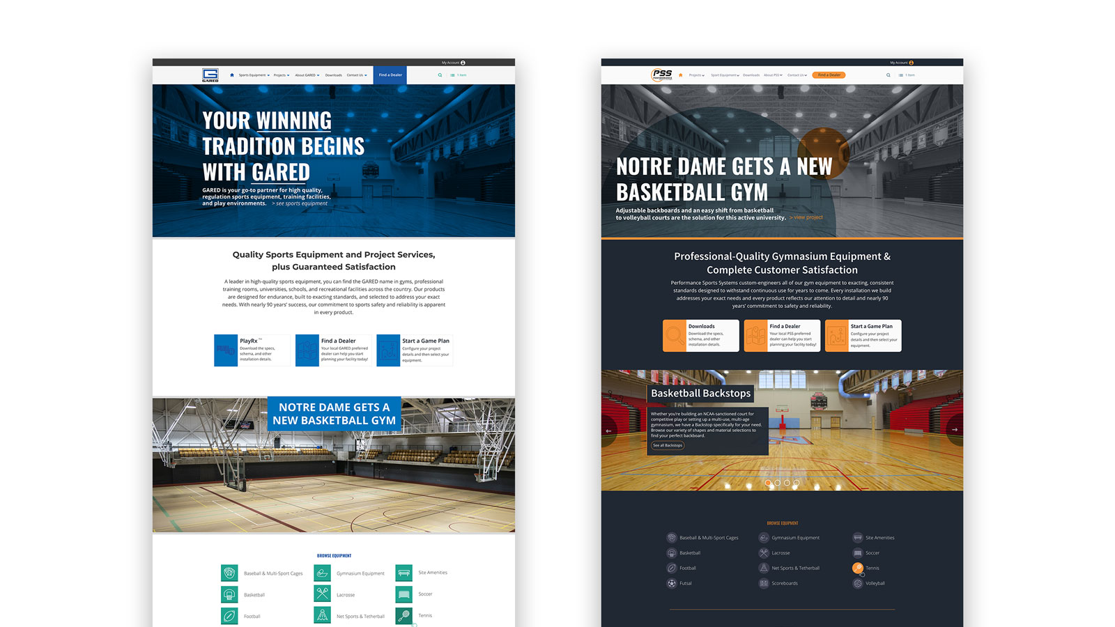 Gared Sports and PSS Sports Multi-site Design
