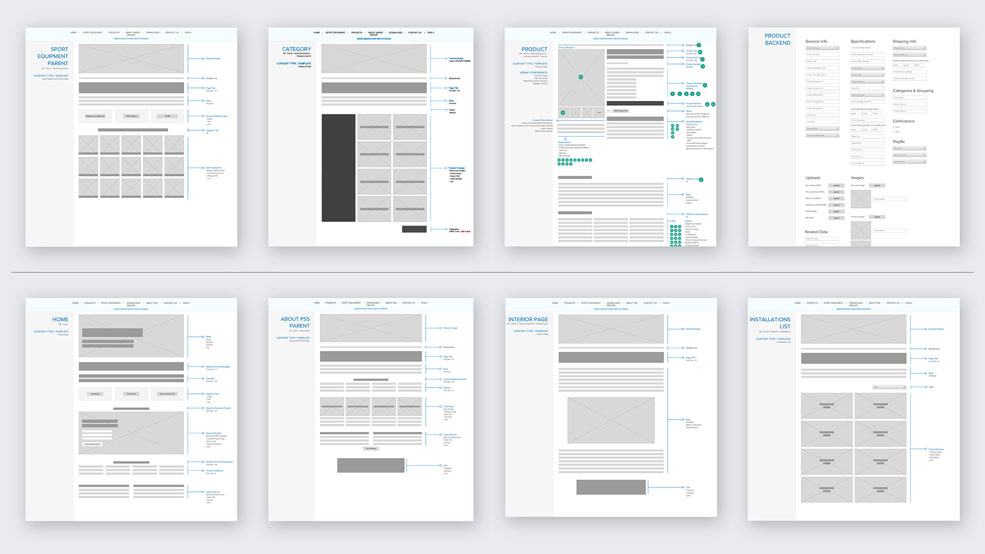 Wireframes for GARED Sports / PSS