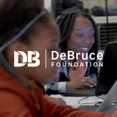 DeBruce Foundation logo and work example